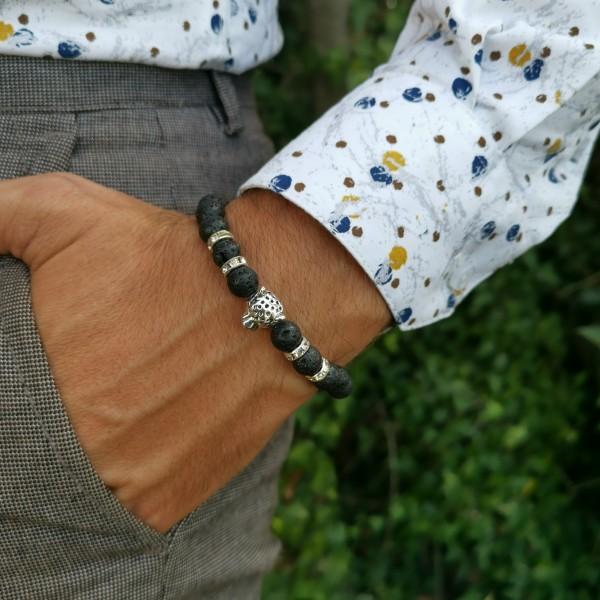 Bracelet pour homme en pierre d'agate noir